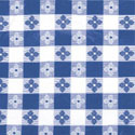 "Blue Check Pattern Vinyl Tablecloth 52"" x 52"""