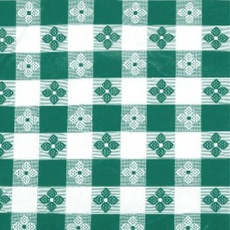"Green Check Pattern Vinyl Tablecloth 70"" x 52"""