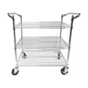 "Winco 3-Shelf Heavy Duty Chrome-Plated Steel Utility Cart 18"" x 36"""