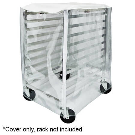 Winco Transparent Plastic Cover with Zipper Flaps for Half-Size Sheet Pan Rack