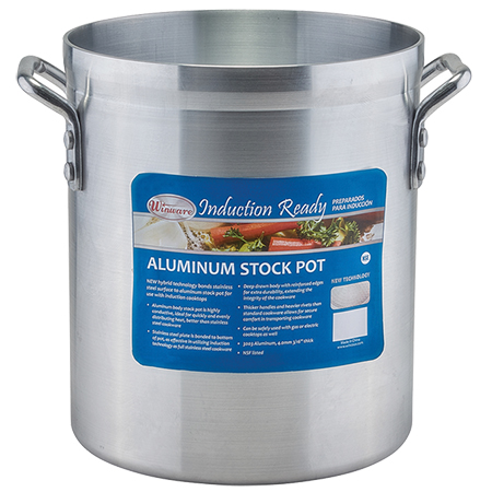 Winco 8 Quart Induction Ready Aluminum Stock Pot with Stainless Steel Plate