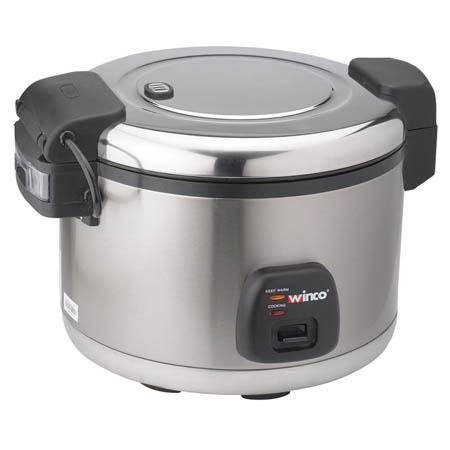Winco 60-Cup Electric Rice Cooker/Warmer with Hinged Cover