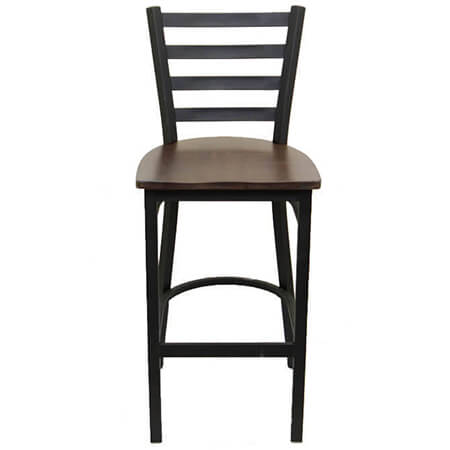 Black Metal Ladder Back Bar Stool with Walnut Finish Wood Seat
