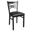 Black Metal X-Back Chair with Black Vinyl Seat