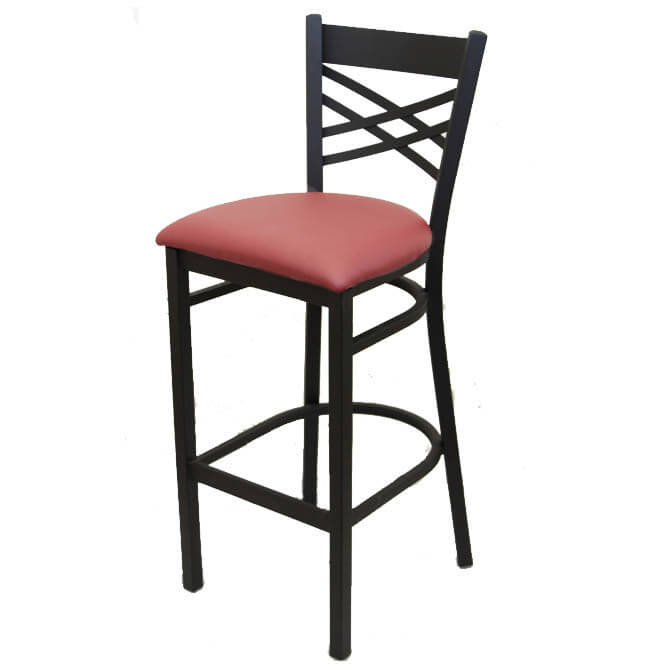 Black Metal X Back Bar Stool With Wine Vinyl Seat