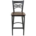 Black Metal X-Back Bar Stool with Walnut Finish Wood Seat