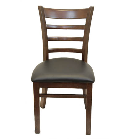 Modesto Walnut Finish Wood Ladder Back Chair with Black Vinyl Seat