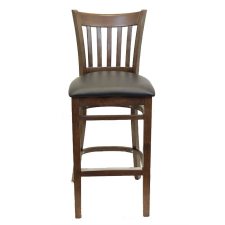 Modesto Walnut Finish Wood Channel Back Bar Stool with Black Vinyl Seat