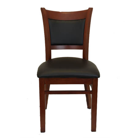 Mahogany Finish Wood Cushion Back Chair with Black Vinyl Seat