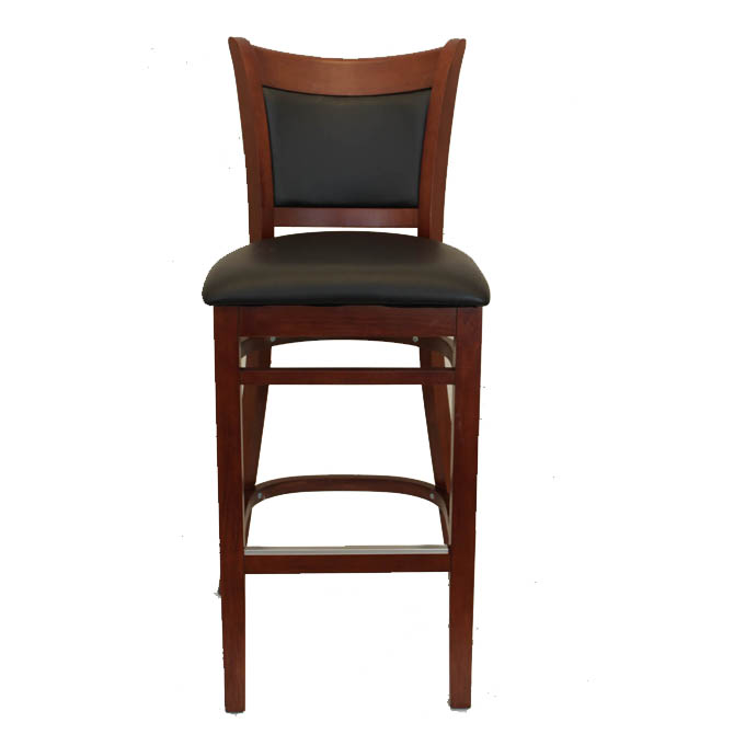 Mahogany Finish Wood Cushion Back Bar Stool with Black  : MK6280l from www.equippers.com size 670 x 670 jpeg 47kB