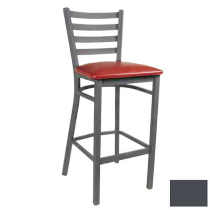 Modesto Graphite Gray Metal Ladder Back Bar Stool With