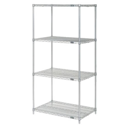 "Nexel Clear Poly-Z-Brite Zinc-Coated Wire Shelving Kit 14""W x 48""L x 63""H"