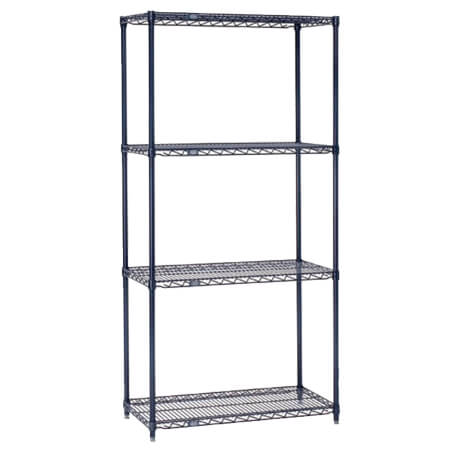 "Nexel Blue Nexelon Epoxy-Coated Wire Shelving Kit 24""W x 24""L x 74""H"