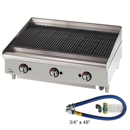 Star Gas Lava Rock Charbroiler with $29 Dormont Quick Disconnect Hose Kit, a $155 value