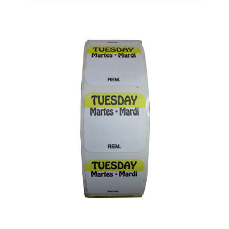 "R3 1"" Tuesday/Mardi/Martes Removable Labels 1,000-Count"