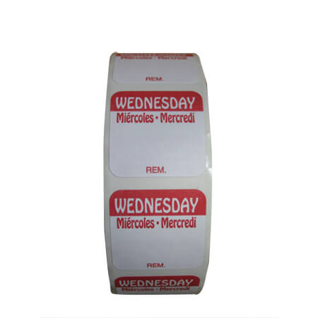 "R3 1"" Wednesday/Mercredi/Miercoles Removable Labels 1,000-Count"