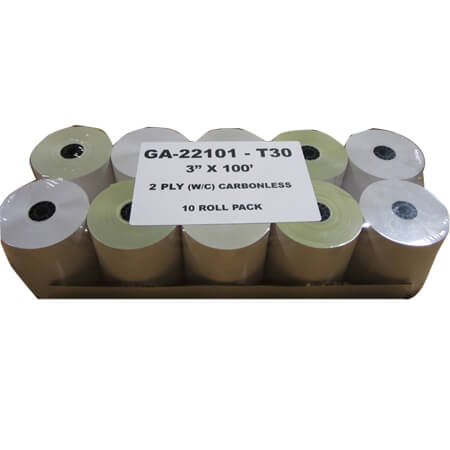 "R3 3"" 2-Ply Cash Register Tape Rolls 10-Pack"