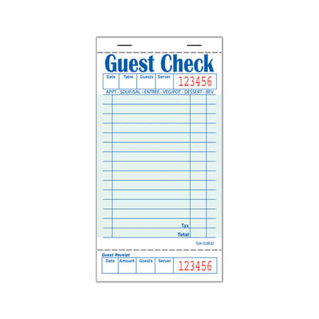 "R3 1-Part 14-Line Guest Check Pads 3-1/2"" x 6-3/4"""