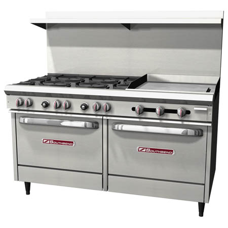 "Southbend 6-Burner Gas Range with 24"" Griddle 60""W"