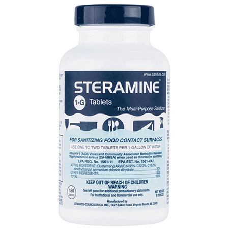 Steramine Sanitizer Tablets (Sanitabs) 150 Count