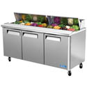 "Turbo-Air 18 Pan 3-Door Sandwich Prep Table 72-5/8""W"