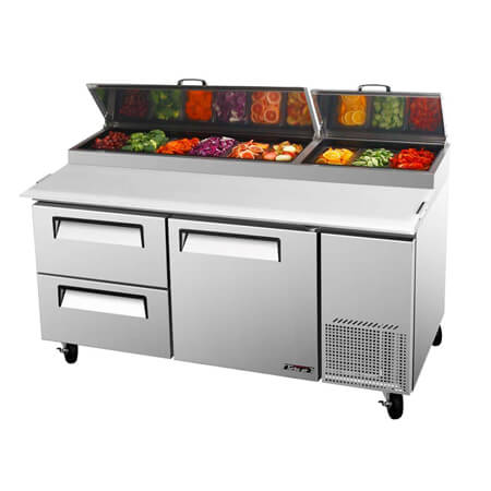 "Turbo-Air 20 cu. ft. 1-Door 2 Drawer Pizza Prep Table 67""W"