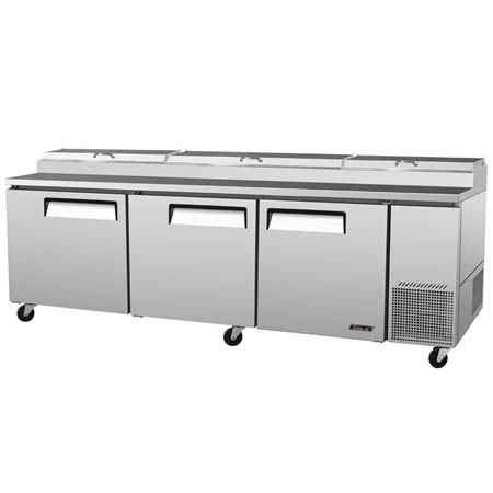 "Turbo-Air 31 cu. ft. 3-Door Pizza Prep Table 93-3/8""W"