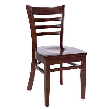 Wood Ladder Back Chair with Walnut Finish Wood Seat