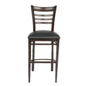 Metal Ladder Back Bar Stool with Walnut Finish and Black Vinyl Seat
