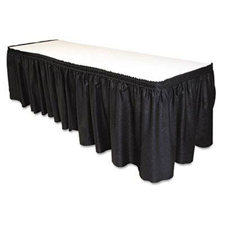 "Black Twill Table Skirting 17-1/2'L x 29""H"