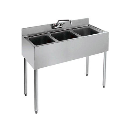 "Krowne 3-Compartment Stainless Steel Bar Sink 36""L X 18-1/2""D"