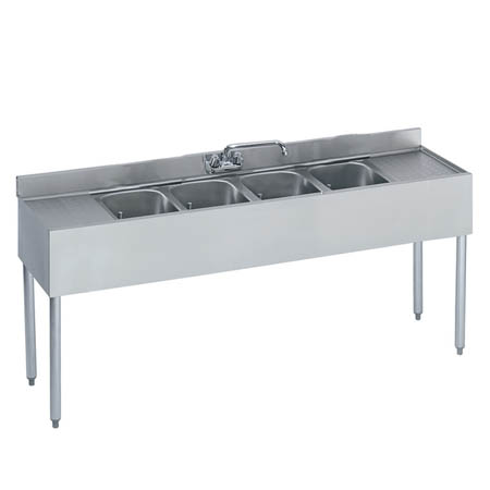 "Krowne 4-Compartment Stainless Steel Bar Sink 72""L x 18-1/2""D"
