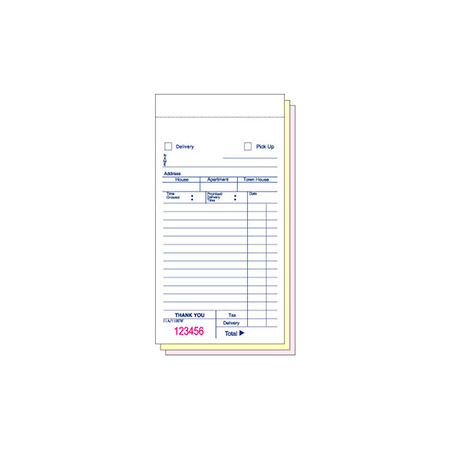National Checking 3-Part Delivery or Carryout Form Book without Carbon