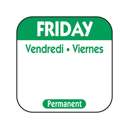 "1"" Friday/Vendredi/Viernes Removable Labels 1,000-Count"