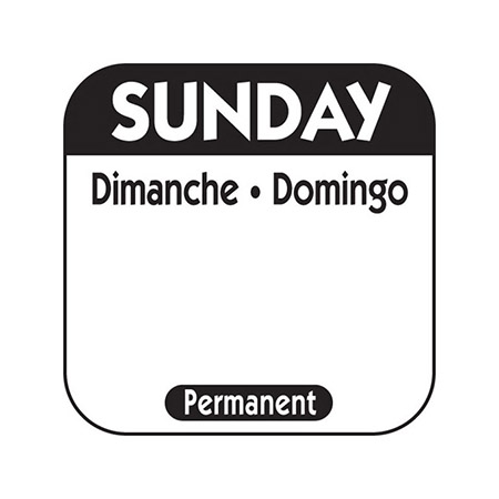 "1"" Sunday/Dimanche/Domingo Removable Labels 1,000-Count"