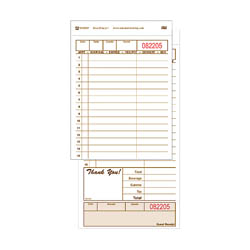 "National Checking 2-Part 15-Line Guest Check Pads with Carbon 4-1/4"" x 8-1/4"""
