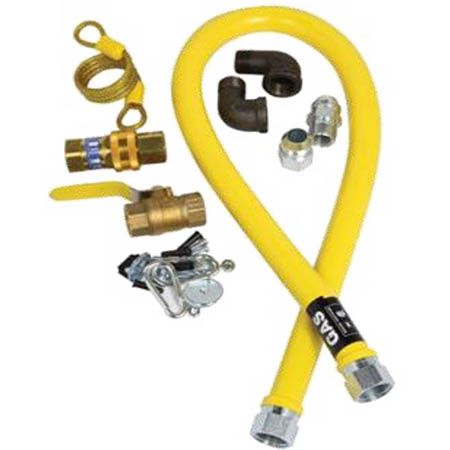 "3/4"" x 48"" Quick Disconnect Gas Hose Kit with Restraining Cable and Shut-Off Valve"