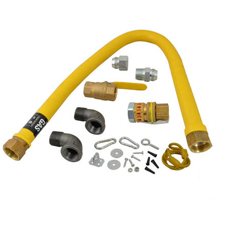 "3/4"" x 36"" Quick Disconnect Gas Hose Kit with Restraining Cable and Shut-Off Valve"