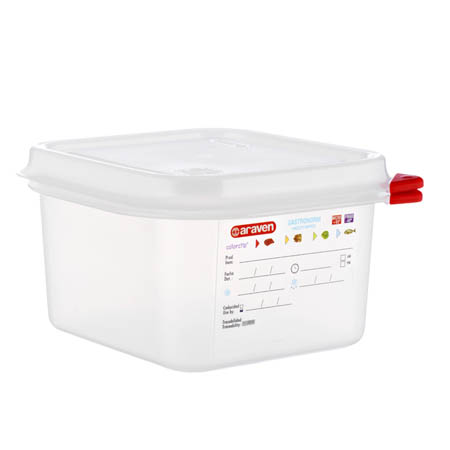 "Araven 1.9-Quart Polypropylene Food Storage Container 6-7/8"" x 6-3/8"" x 4"""