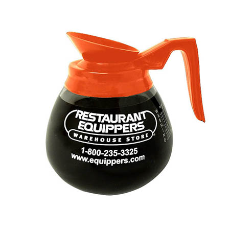 64 oz. Decaf Orange Coffee Pot with Restaurant Equippers Logo