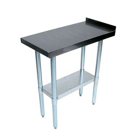 "Sauber Stainless Steel Filler Work Table with 1-1/2"" Backsplash 15""W x 30""D x 35""H"