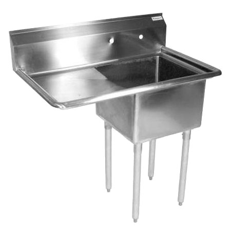 "BK Resources 1-Compartment Stainless Steel Sink with 18"" Drainboard on Left 36-1/2""L"