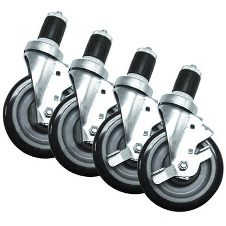 "Set of Four 5"" Casters for Work Tables and Grill Stands"