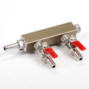 2-Way Manifold with 5/16\x22 Hose Inlet for Dual Faucet Draft Beer Towers