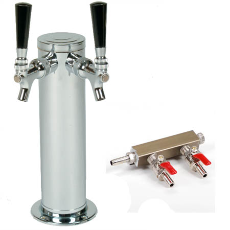 "Dual Faucet Stainless Steel Tap for Draft Beer Coolers with 2-Way Manifold 3"" Diameter"