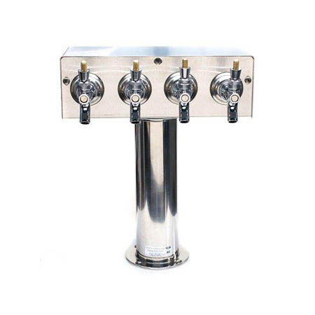 "4 Faucet Stainless Steel T Tower for Draft Beer Coolers 3"" Diameter"