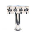 4 Faucet Stainless Steel T Tower for Draft Beer Coolers 3\x22 Diameter