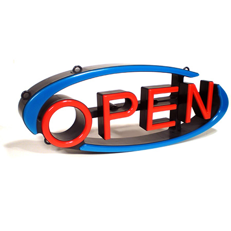 "Environmentally Friendly LED Swivel Open Sign 22-1/2"" x 9"""