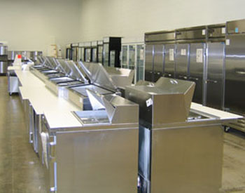 prep tables and commercial refrigerators