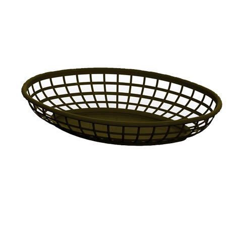 "Impact Brown Plastic Oval Basket 9-3/8"" x 5-15/16"""